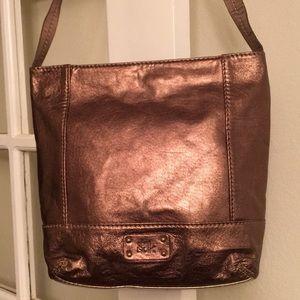 Brown metallic small leather tote